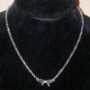 Jewelry - Silver Black Bow Necklace